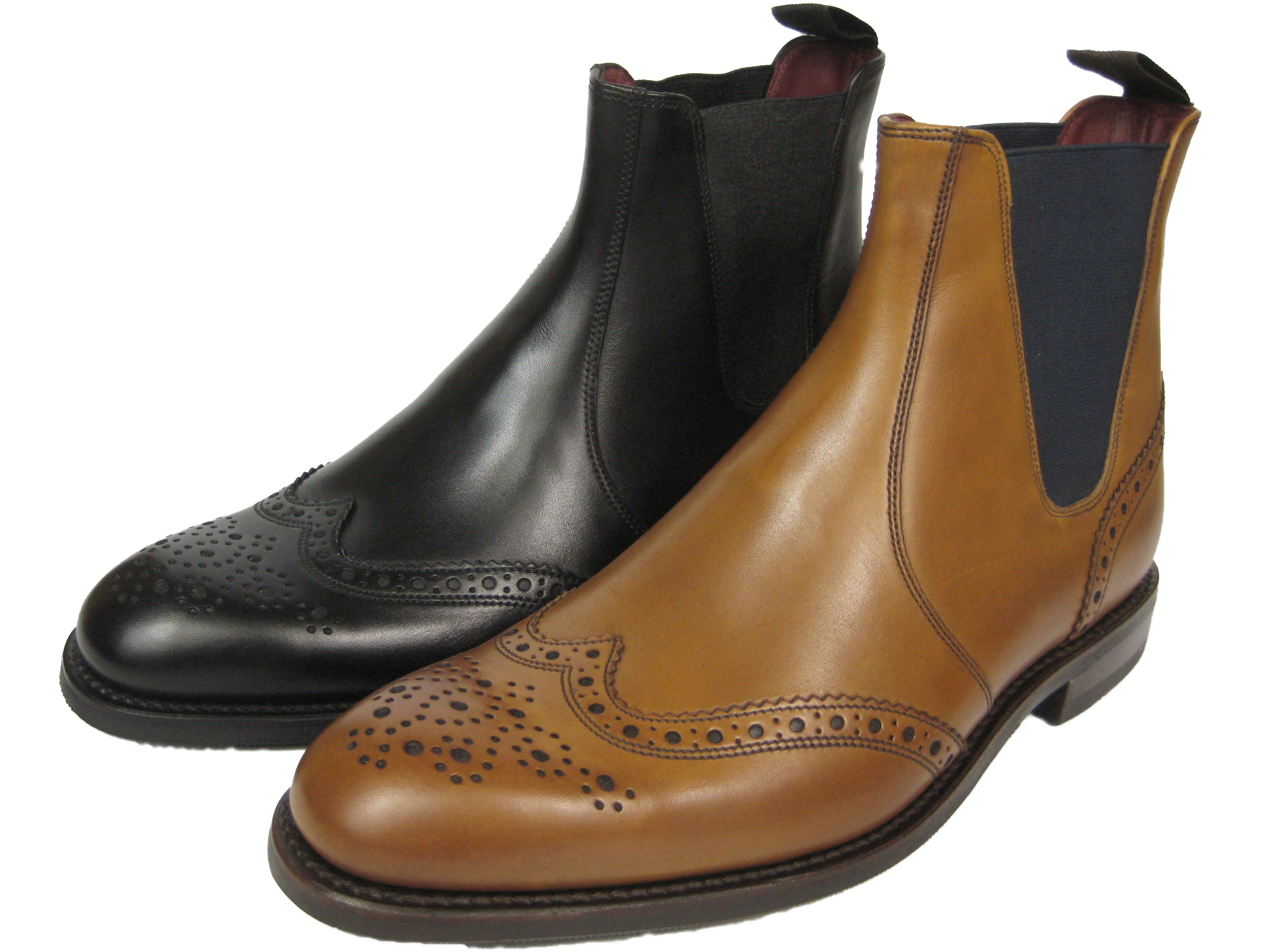 on sale 51e9f 9aa05 Details about Loake Hoskins Chelsea Budapest Brogue Boots Black & Tan  Whisky Braun